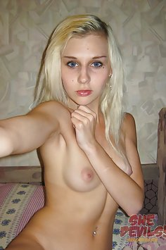 Perfect young self shot blonde amateur girl