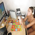 Ultra sexy nerdy gamer girl lounges around nude - image control.gallery.php