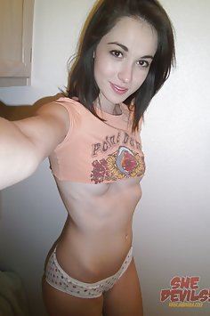 Super skinny selfie girl shows off perky tits