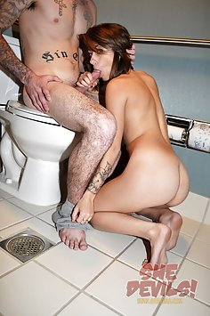 Hot sex in the toilet with a skinny EMO girl