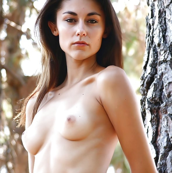 Took some topless pics of my perky tits GF while camping
